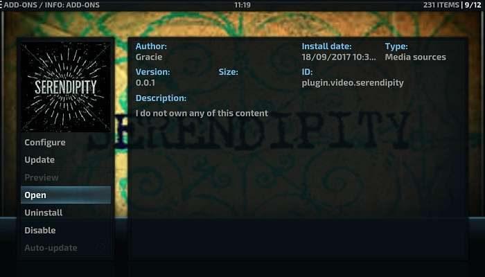 How to install Serendipity on Kodi